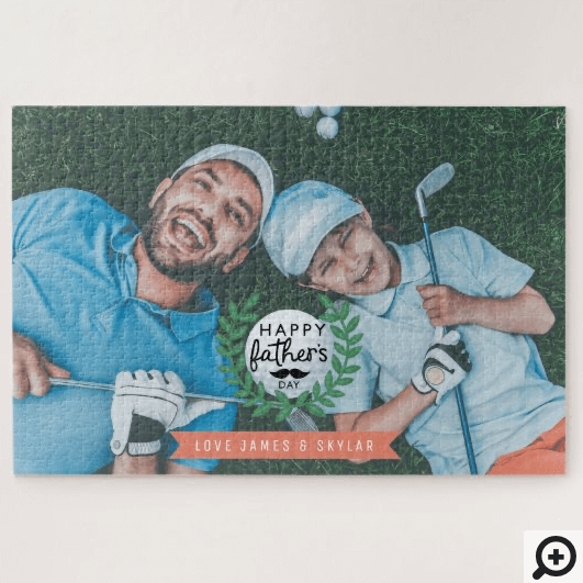 Happy Father's Day Dad, Golf Crest Full Photo Jigsaw Puzzle