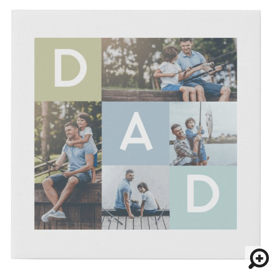 Happy Fathers Day Dad Modern Multi Photo Grid Faux Canvas Print