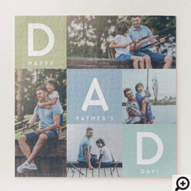 Happy Fathers Day Dad Modern Multi Photo Grid Jigsaw Puzzle