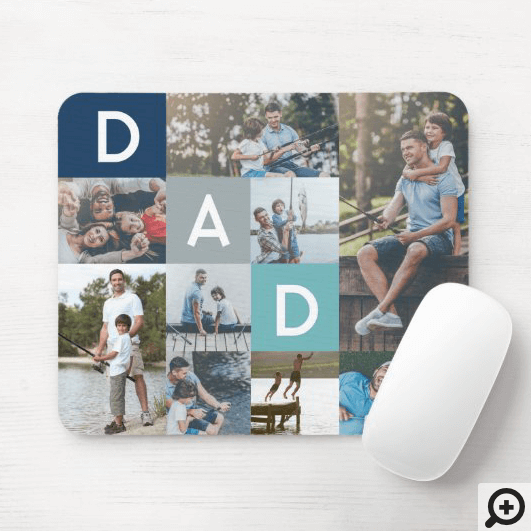 Happy Fathers Day Dad Modern Multi Photo Grid Mouse Pad