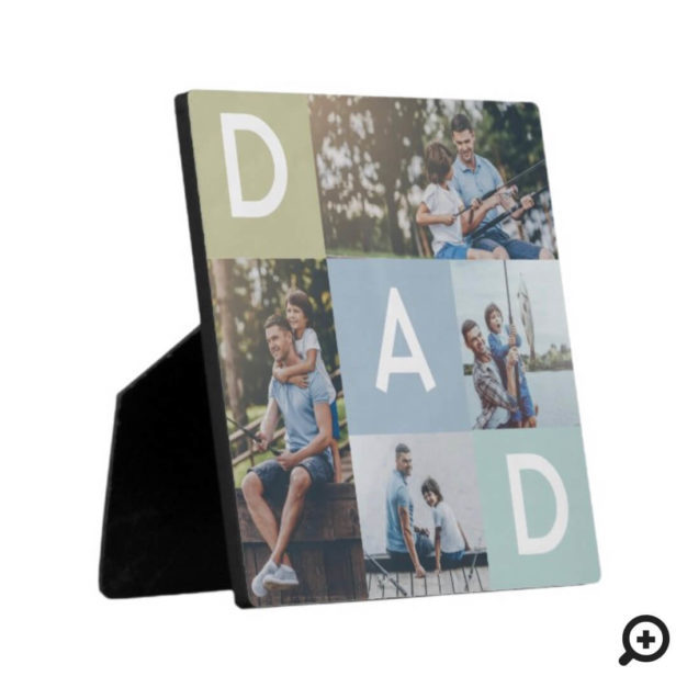 Happy Fathers Day Dad Modern Multi Photo Grid Plaque