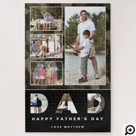 Happy Father's Day Green Camouflage Photo Collage Jigsaw Puzzle
