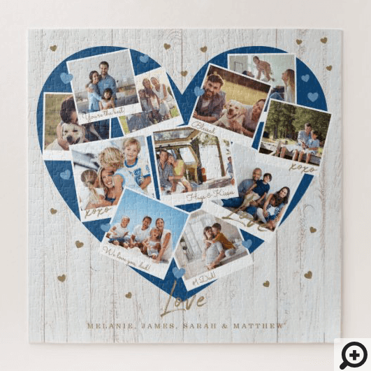 Happy Father's Day Love Heart Shape Photo Collage Jigsaw Puzzle