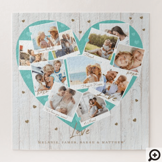 Happy Mother's Day Love Heart Shape Photo Collage Jigsaw Puzzle