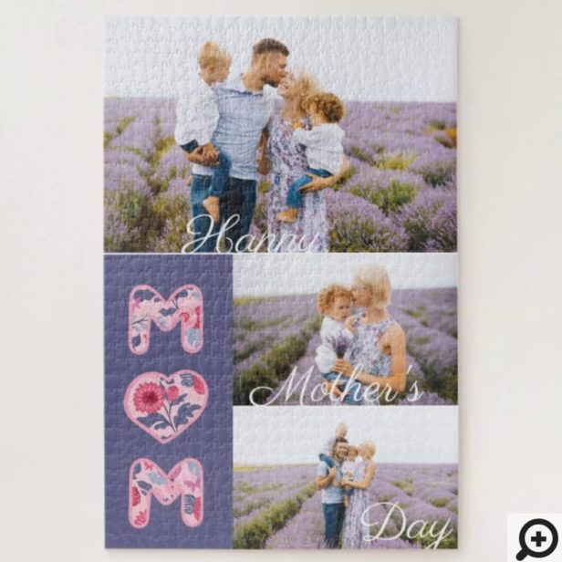 Happy Mother's Day Mom Photo Collage & Florals Jigsaw Puzzle