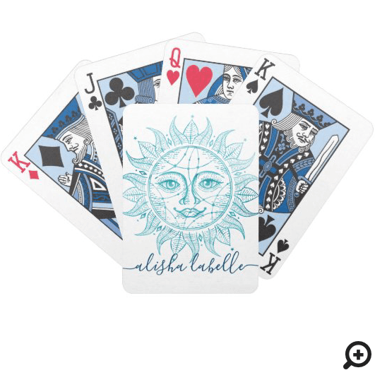 Holistic & Beautiful Celestial Sun Face & Stars Bicycle Playing Cards