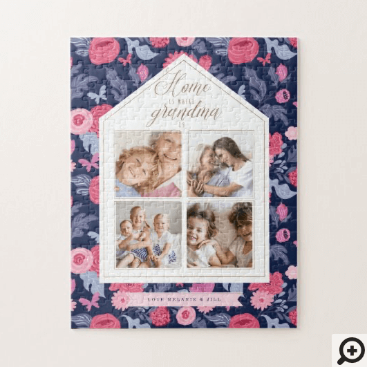 Home is Where Grandma Is Photo Collage Pink Floral Jigsaw Puzzle