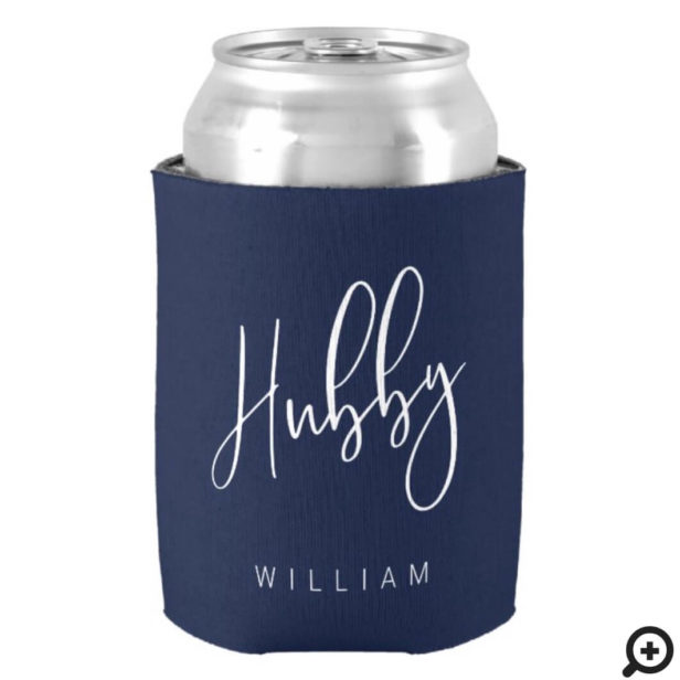 Hubby Calligraphy Navy Blue Name & Monogram Can Cooler