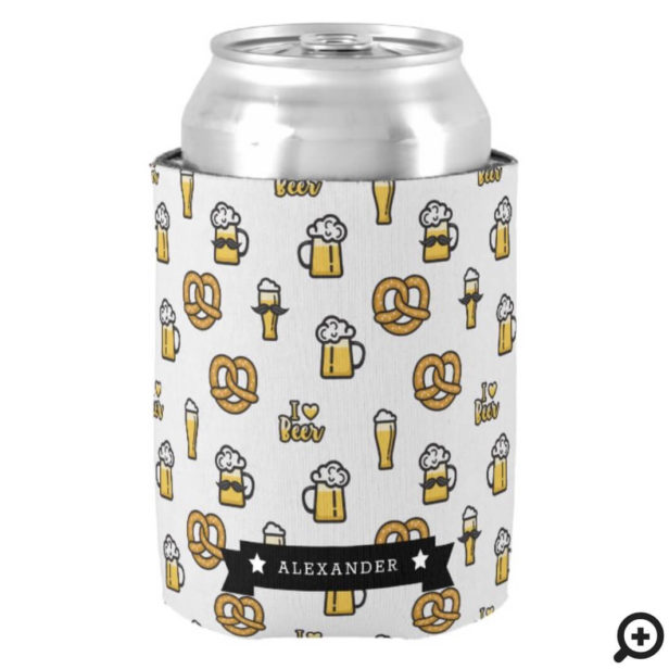I Love Beer Moustache and Pretzels Pattern Name Can Cooler