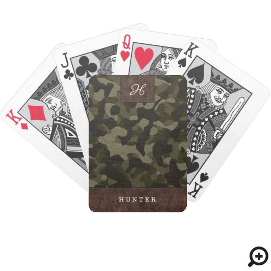 Leather & Army Camouflage Pattern Name & Monogram Bicycle Playing Cards