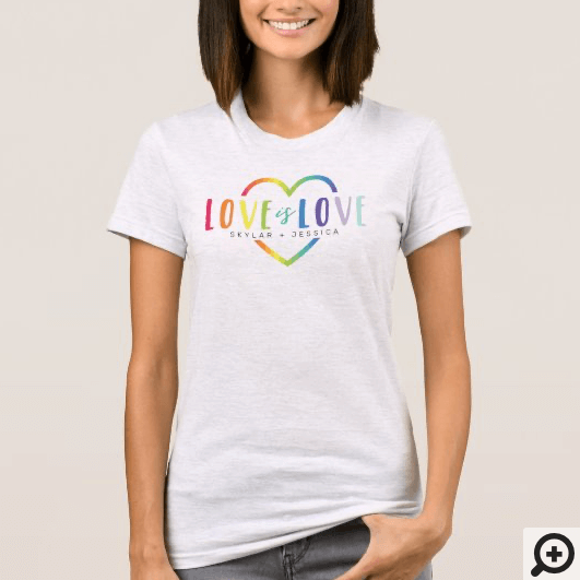 Love Is Love Rainbow Colors Heart Graphic Couples T-Shirt