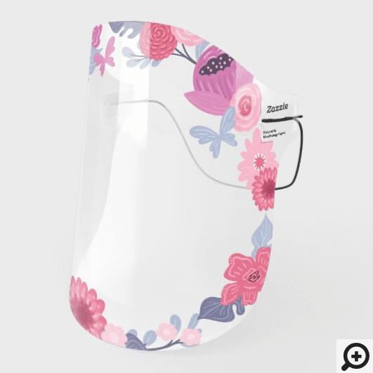 Lovely Pretty Pink Purple Floral Frame Arrangement Face Shield