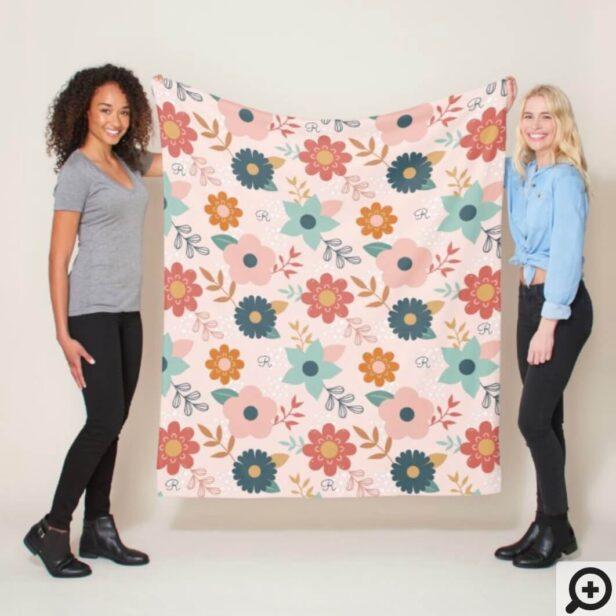 Modern Abstract Girly Floral Pattern & Monogram Fleece Blanket