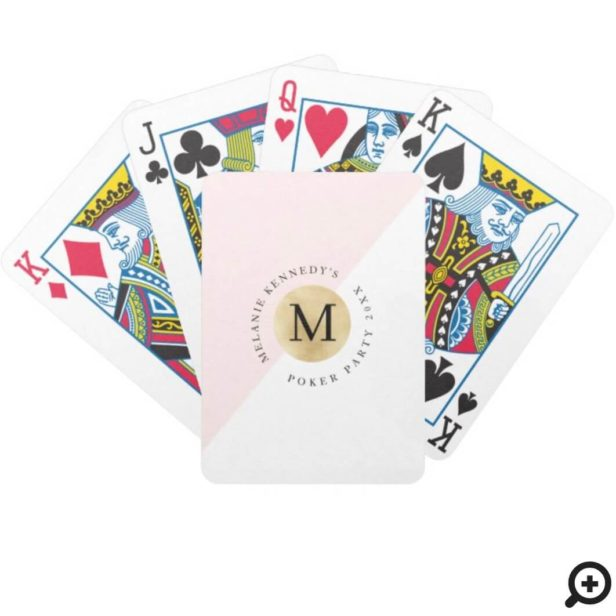 Modern Gold Circle Monogram White and Blush Pink Bicycle Playing Cards