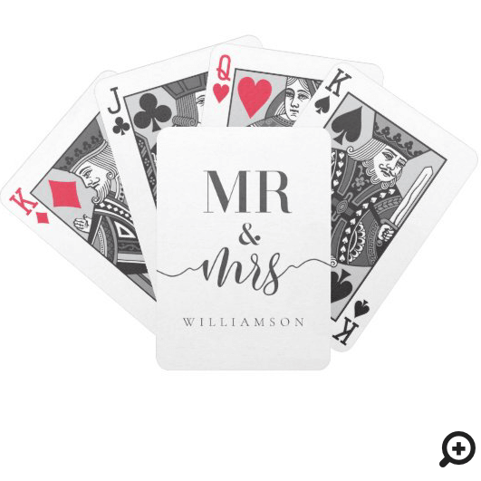 Modern Minimal Mr & Mrs Typographic Black/White Bicycle Playing Cards