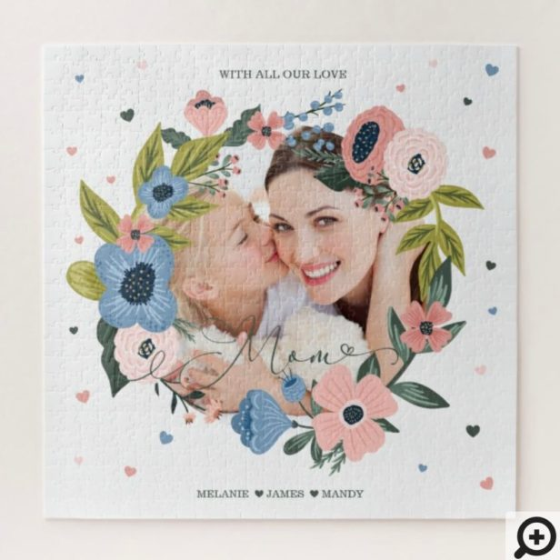 Mom Script Typographic Floral Wreath & Photo Jigsaw Puzzle