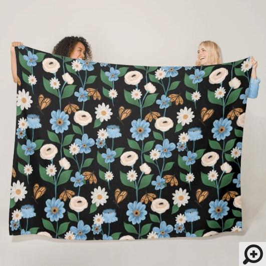 Monarch Butterflies & Blue & White Flowers Fleece Blanket
