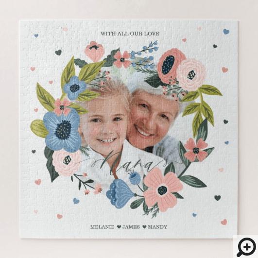 Nana Script Typographic Floral Wreath & Photo Jigsaw Puzzle