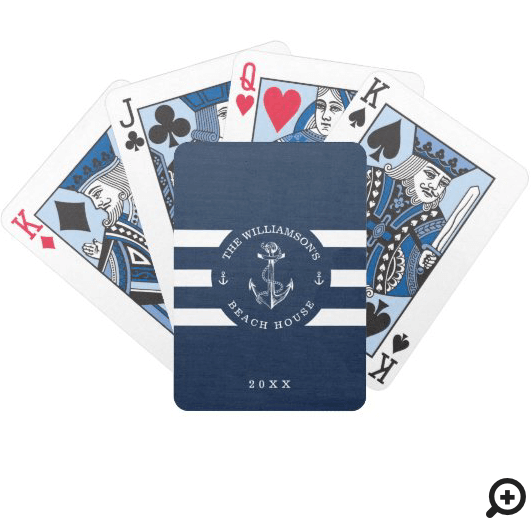 Navy Ship Nautical Anchor & Rope White Stripe Bicycle Playing Cards