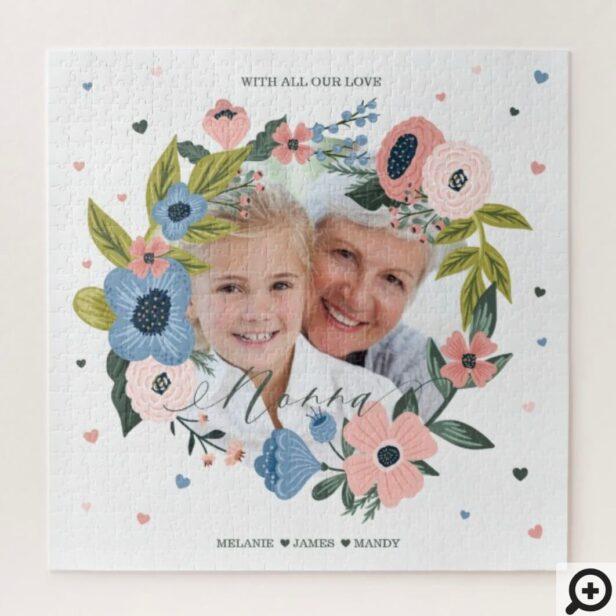 Nonna Script Typographic Floral Wreath & Photo Jigsaw Puzzle