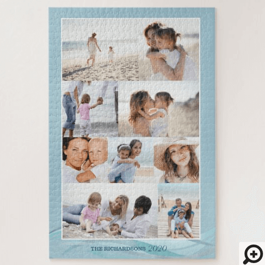 Ocean Beach Theme Family Photo Memory Collage Grid Jigsaw Puzzle