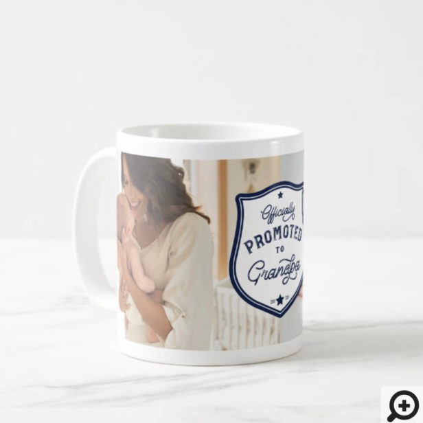 Officially Promoted to Grandpa Badge & Photo Coffee Mug