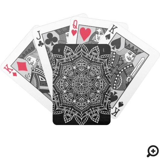 Ornate Floral Boho Henna Mandala Black Bicycle Playing Cards