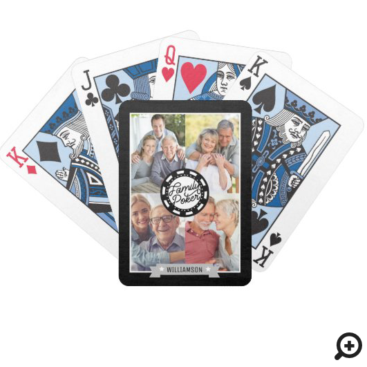 Personalized Family Poker Game Night Photo Collage Bicycle Playing Cards