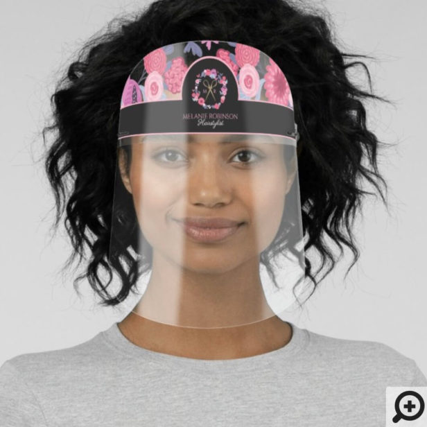 Pink Floral Wreath, Gold Scissor Hairstylist Band Face Shield