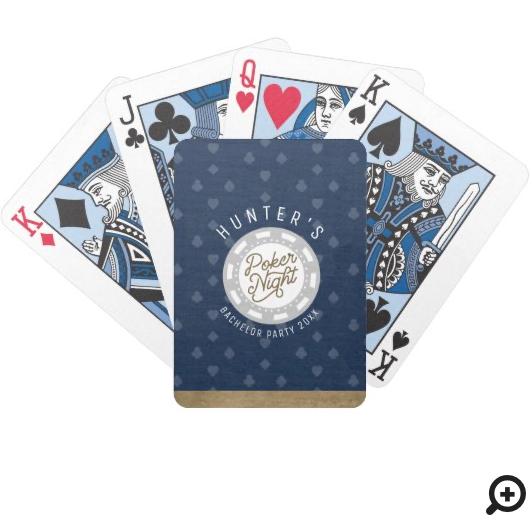 Poker Night Bachelor Party Navy Blue & Gold Bicycle Playing Cards