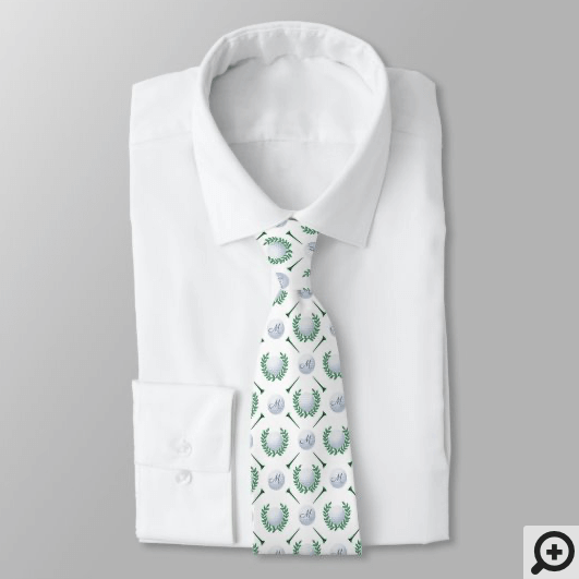 Prestigious Laurel Wreath Golfing Crest Monogram Neck Tie