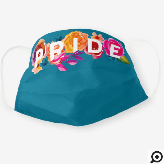 Pride Bright Rainbow Gradient Floral Graphic Blue Cloth Face Mask
