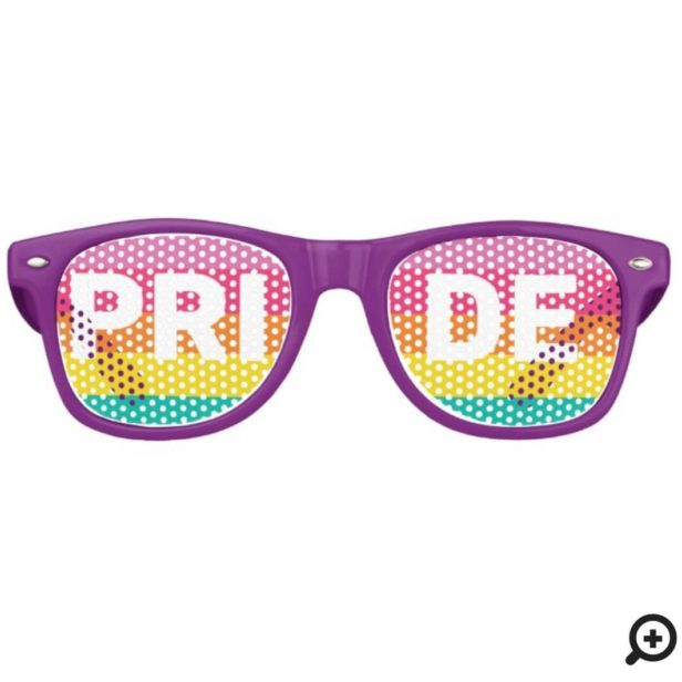 Pride Typography & Rainbow Stripe Design Retro Sunglasses