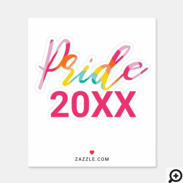 Pride Watercolor Rainbow Script With Custom Year Sticker