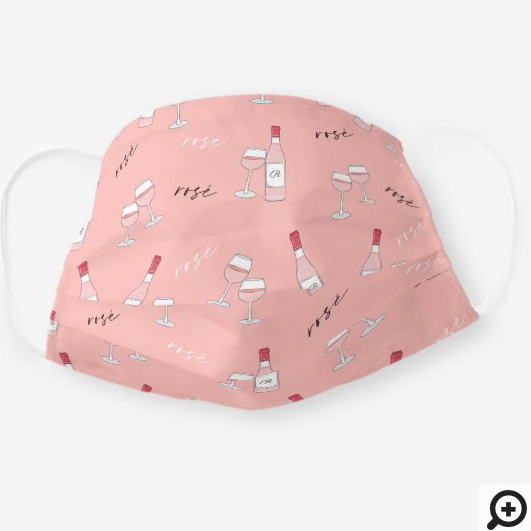 Rosé All Day, Wine bottle & Glasses Monogram Pink Cloth Face Mask