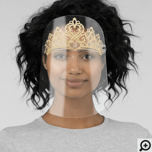 Royal Queen Elegant Gold Glitter Crown & Monogram Face Shield