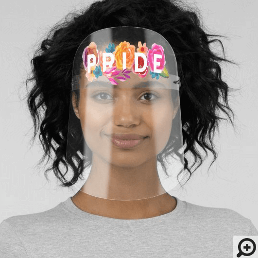 Pride Rainbow Gradient Floral Graphic Face Shield