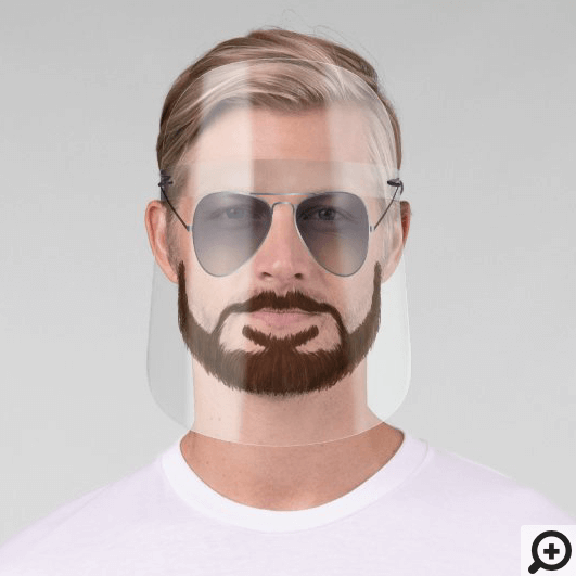 Silver Aviator Sunglasses With Beard & Moustache Face Shield
