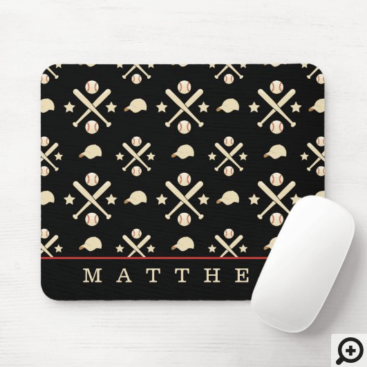 Sporty Baseball, Hat & Baseball Bat Pattern Black Mouse Pad