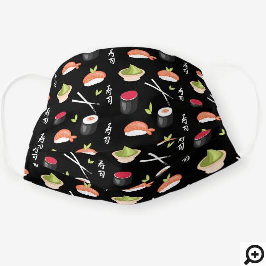 Sushi, Wasabi, Rice, fish and Chop Stick Black Cloth Face Mask