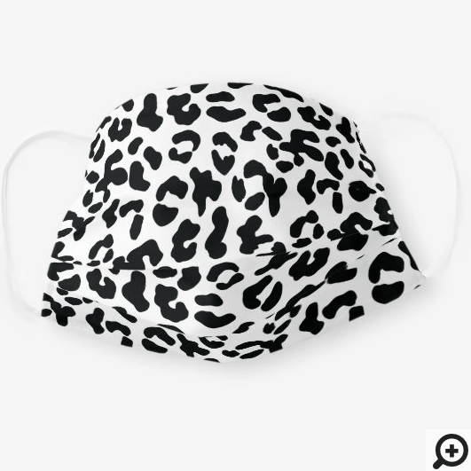 Trendy Black White Abstract Leopard Print Pattern Cloth Face Mask