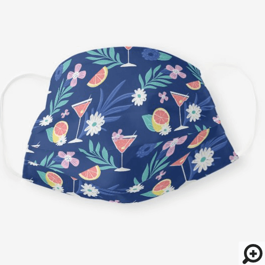Tropical Citrus Fruit Cocktail Hour Pattern Navy Cloth Face Mask