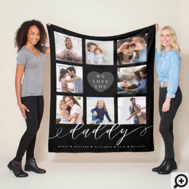 We Love You Daddy - Grandchildren & Family Photos Black Fleece Blanket