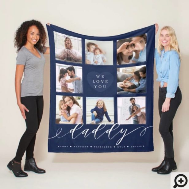 We Love You Daddy | Grandchildren & Family Photos Navy Fleece Blanket