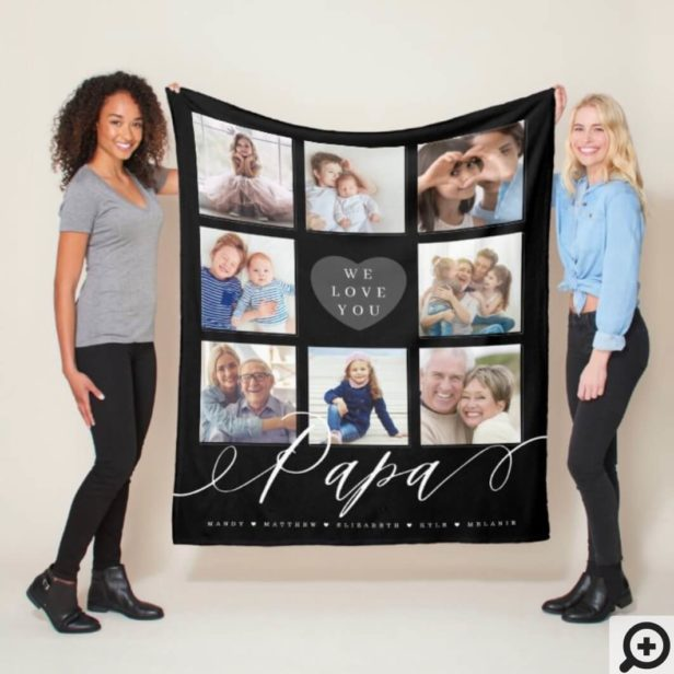 We Love You Papa - Grandchildren & Family Photos Black Fleece Blanket