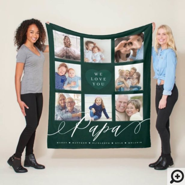 We Love You Papa - Grandchildren & Family Photos Hunter Green Fleece Blanket