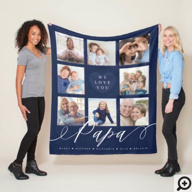 We Love You Papa - Grandchildren & Family Photos Navy Fleece Blanket