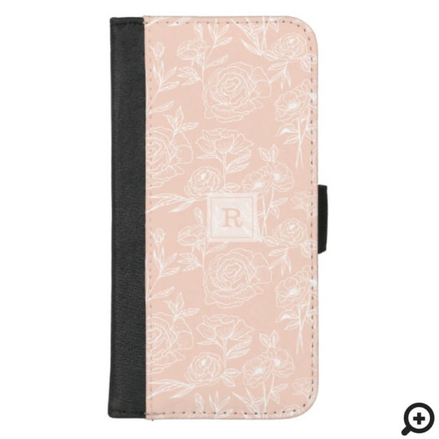 White & Blush Floral Botanical Pattern Monogram iPhone Wallet Case