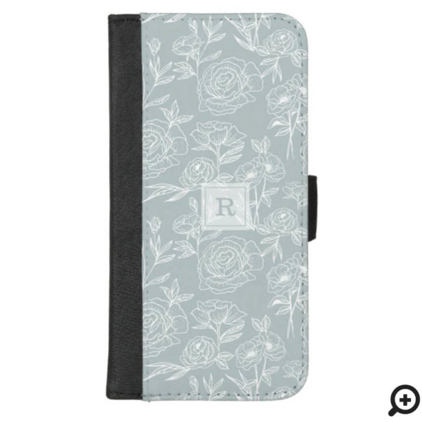 White Grey Blue Floral Botanical Pattern Monogram iPhone Wallet Case