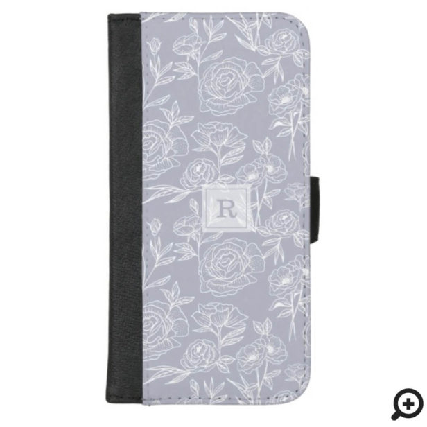 White & Lavender Floral Botanical Pattern Monogram iPhone Wallet Case